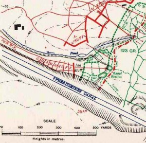 Map of action at The Bluff, 2 Mar 1916