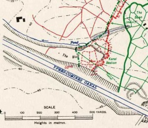 Map of action at The Bluff, 14 Feb 1916