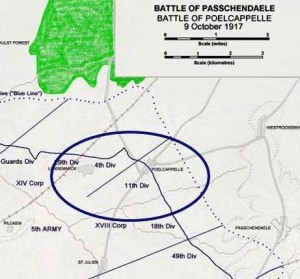 The 11th Manchesters were part of the 11th (Northern) Division (circled)
