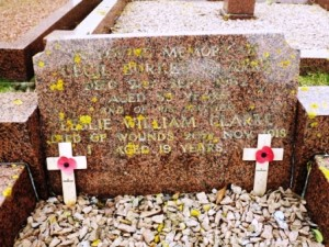 Leslie is commemorated on his brother's grave at Ruskington